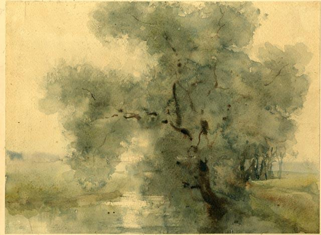 famous painting Watercolor Study of Large Tree of Theodore Clement Steele