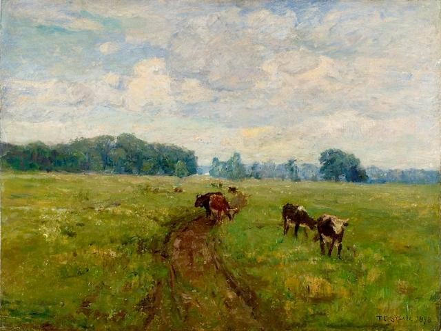 famous painting White-Faced Cows in Pasture of Theodore Clement Steele