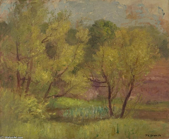 famous painting Willows in Spring of Theodore Clement Steele