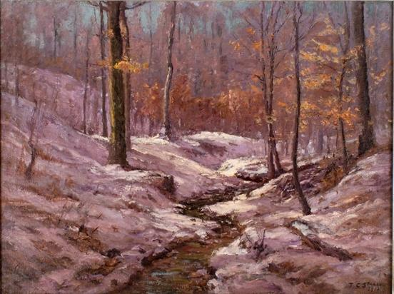 famous painting Winter Morning in the Ravine of Theodore Clement Steele