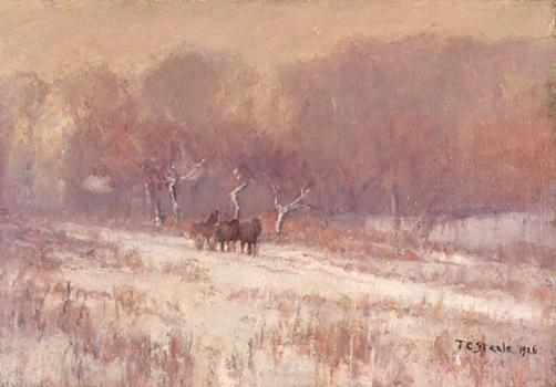 famous painting Winter Scene (Axtell Road, Snowy Day) of Theodore Clement Steele