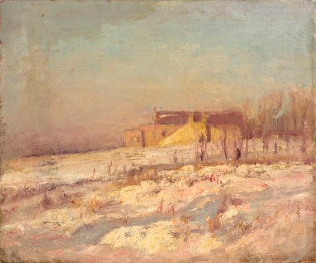 famous painting Winter Scene (Barn in the Background) of Theodore Clement Steele