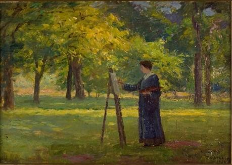 famous painting Woman Painting in a Grove of Theodore Clement Steele