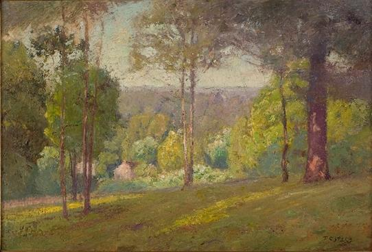 famous painting Wooded Hills in Autumn (Midsummer, North Slope) of Theodore Clement Steele