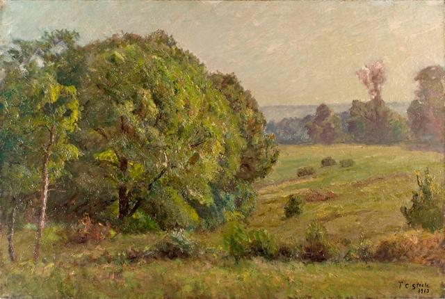 famous painting Woodland Field (The Oaks - Rainy Day) of Theodore Clement Steele