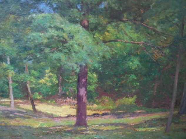 famous painting Woodland Scene (Forest Interior) of Theodore Clement Steele