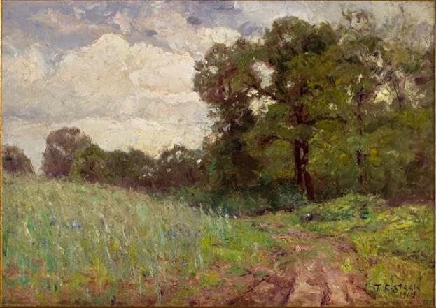 famous painting Woods and Sky (cloud study) of Theodore Clement Steele