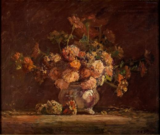 famous painting Zinnias of Theodore Clement Steele