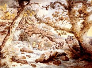 Thomas Rowlandson - Fording The River Camel, Cornwall
