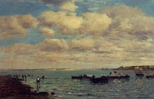 Eugène Louis Boudin - Camaret, Fishermen and Boats