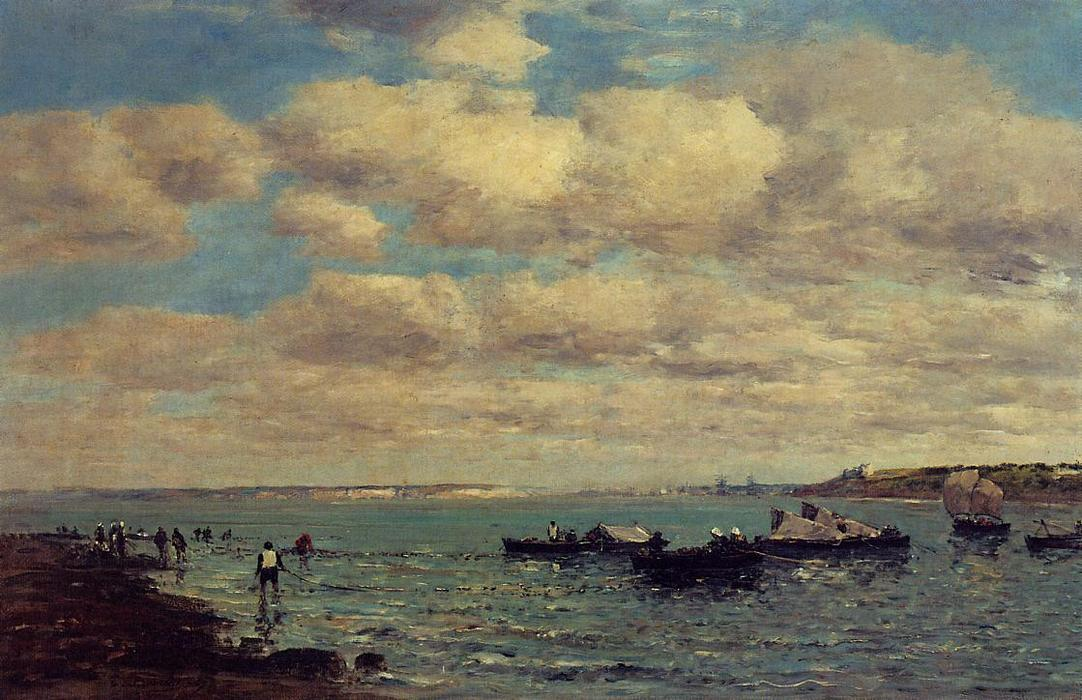 famous painting Camaret, Fishermen and Boats of Eugène Louis Boudin