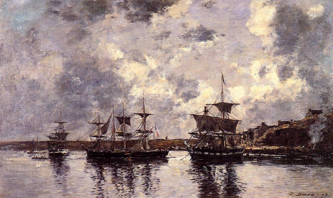 famous painting Camaret, Three Masters Anchored in the Harbor of Eugène Louis Boudin