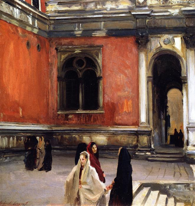famous painting Campo behind the Scuola di San Rocco (also known as An Inner Courtyard of La Scuila di San Rocco, Venice) of John Singer Sargent