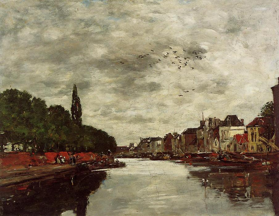famous painting A Canal near Brussels of Eugène Louis Boudin
