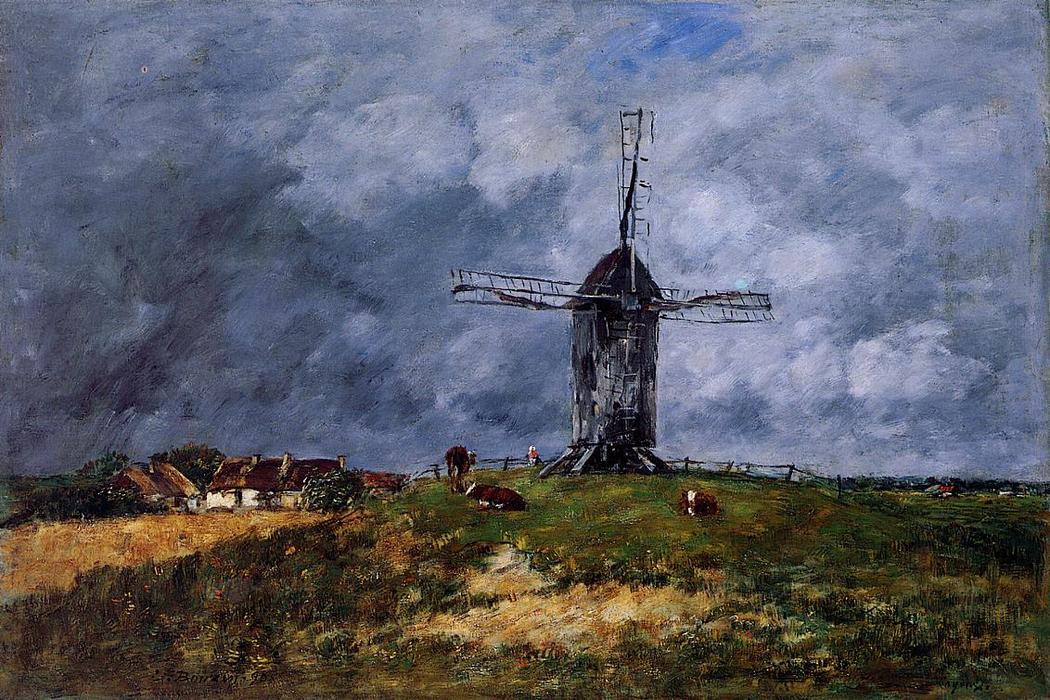 famous painting Cayeux, Windmill in the Countryside, Morning of Eugène Louis Boudin