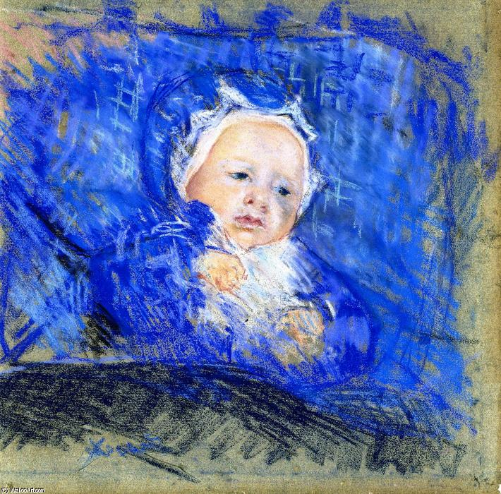 famous painting Child on a Blue Cushion of Mary Stevenson Cassatt