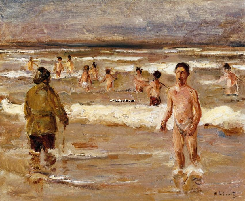 famous painting Children Bathing in the Sea of Max Liebermann