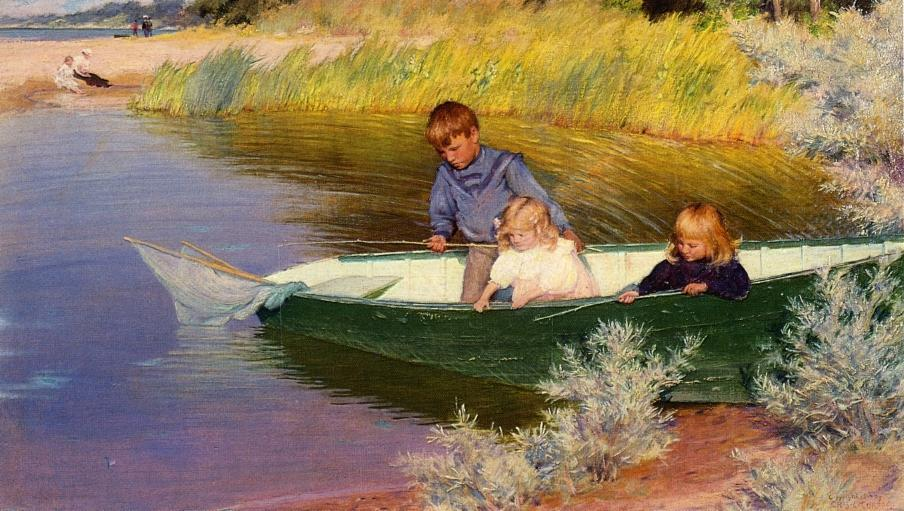 famous painting Children Fishing of Charles Courtney Curran