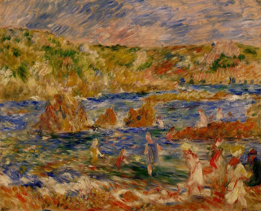famous painting Children on the Beach at Guernsey of Pierre-Auguste Renoir