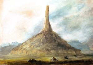Alfred Jacob Miller - Chimney Rock near Scott's Bluff
