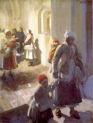 famous painting Christmas Morning Service of Anders Leonard Zorn