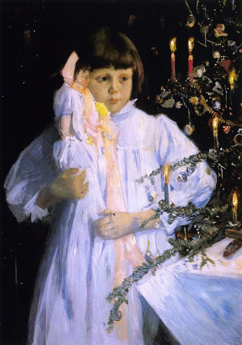 famous painting The Christmas Tree of Julian Alden Weir