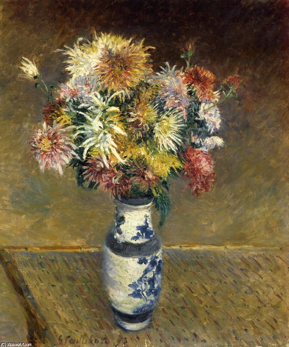 famous painting Chrysanthemums in a Vase of Gustave Caillebotte
