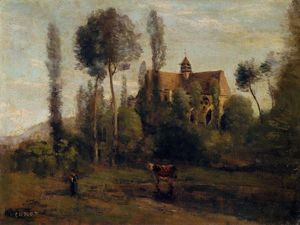 Jean Baptiste Camille Corot - The Church at Essommes, near the Chateau Thierry
