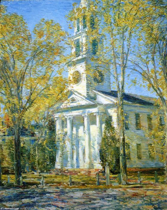 famous painting Church at Old Lyme of Frederick Childe Hassam