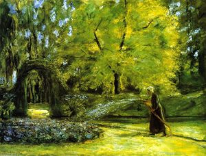 Max Liebermann - The Circular Bed in the Hedge Garden with a Woman Watering flowers