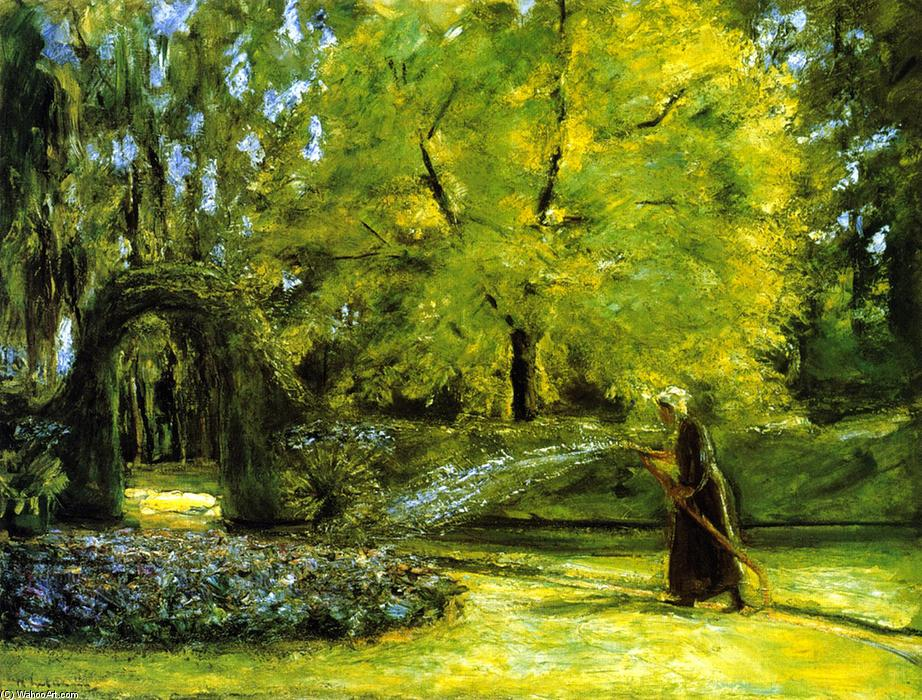 famous painting The Circular Bed in the Hedge Garden with a Woman Watering flowers of Max Liebermann