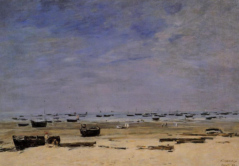 famous painting The Coastline at Berck at Low Tide of Eugène Louis Boudin