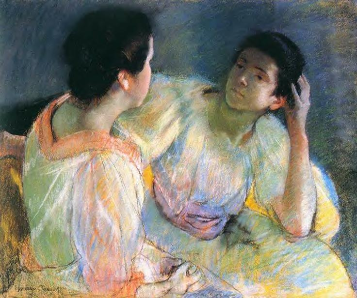 famous painting The Conversation of Mary Stevenson Cassatt