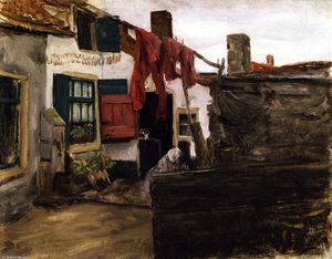 Max Liebermann - Corner of a Dutch Village with Washing Hung up to Dry