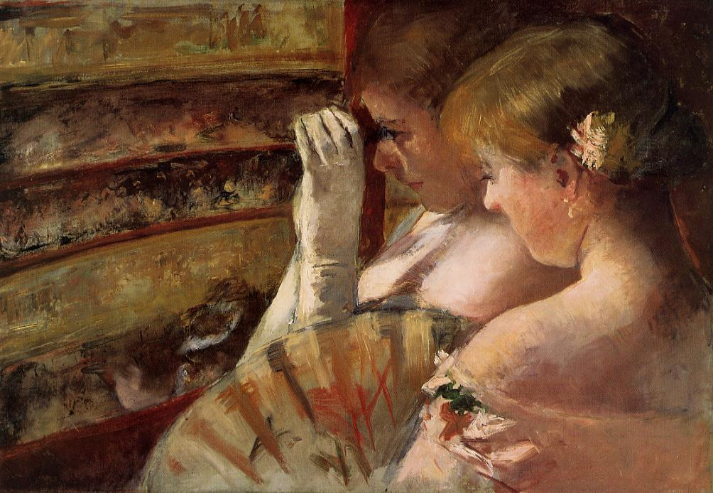 famous painting A Corner of the Loge (also known as In the Box) of Mary Stevenson Cassatt