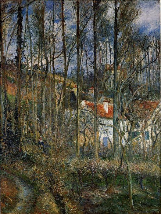 famous painting The Cote des Boeurs at l'Hermitage, near Pontoise of Camille Pissarro