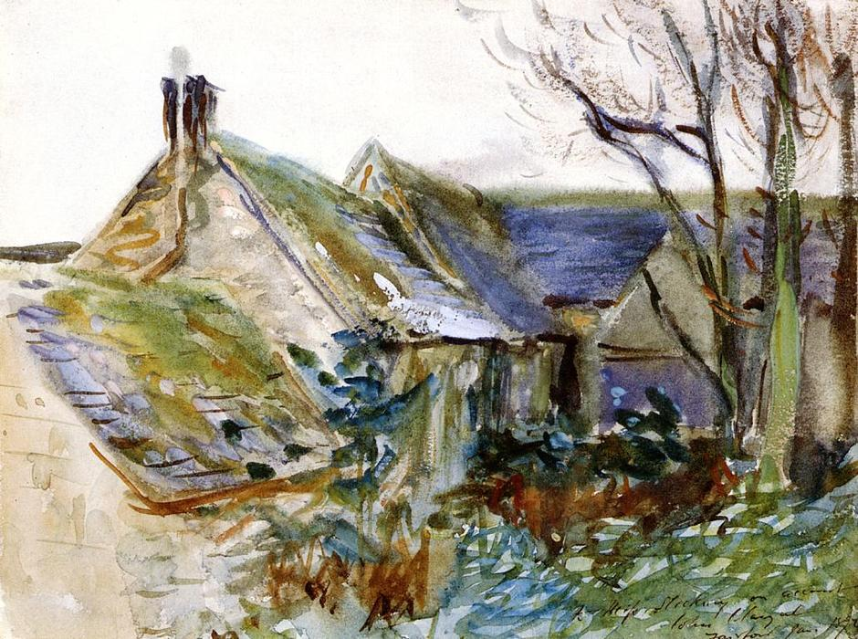 famous painting Cottage at Fairford, Gloucestershire (also known as Outbuildings, Morgan Hall) of John Singer Sargent