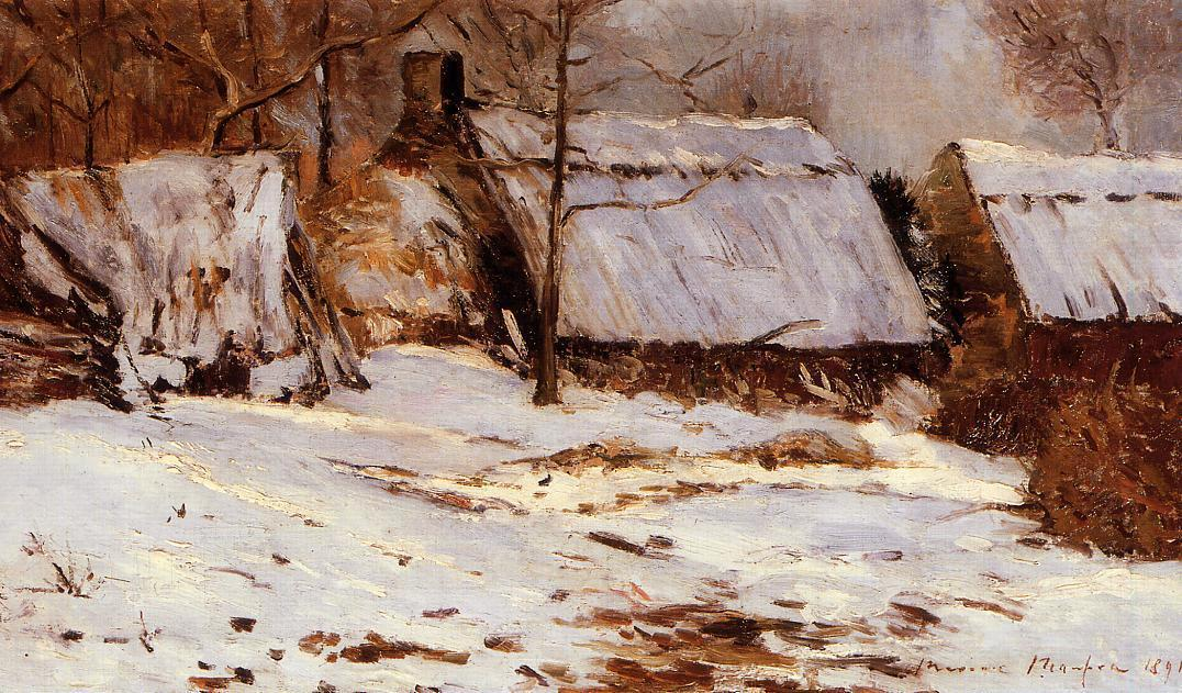 famous painting Cottages in the Snow of Maxime Emile Louis Maufra