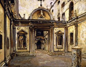 John Singer Sargent - Courtyard of the Scuola Grande di San Giovanni Evangelista (also known as San Giovani Evangelista)