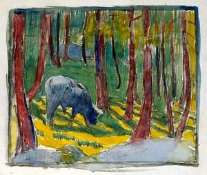 Giovanni Giacometti - Cow grazing in the forest