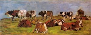 Eugène Louis Boudin - Cows in a Field