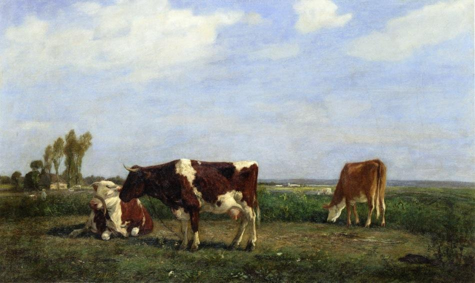famous painting The Cows in a Meadow of Eugène Louis Boudin