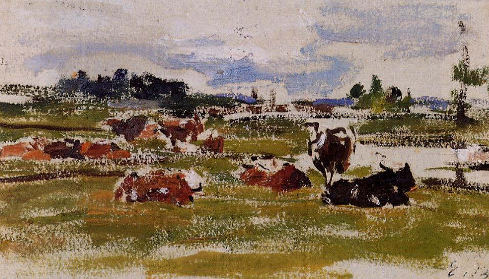 famous painting Cows in Pasture of Eugène Louis Boudin