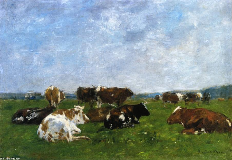 famous painting Cows in a Pasture of Eugène Louis Boudin