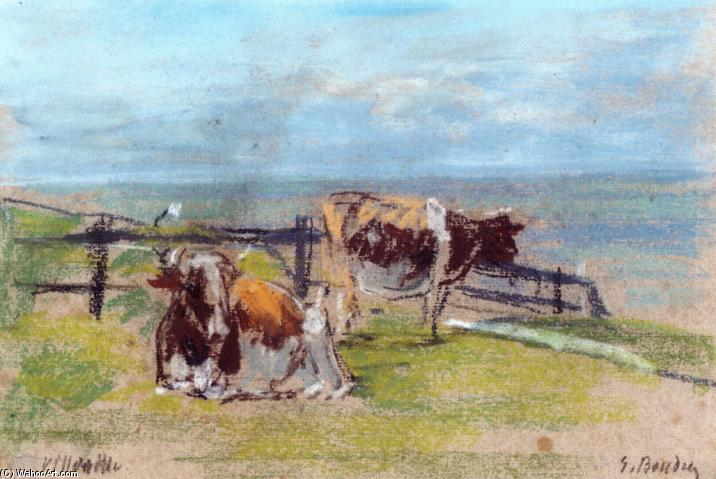 famous painting Cows on a Cliff at Villerville of Eugène Louis Boudin