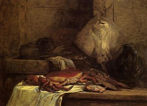 Eugène Louis Boudin - Crab, Lobster and Fish (also known as Still Life with Skate)