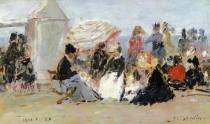 Eugène Louis Boudin - Crinolines on the Beach, Trouville