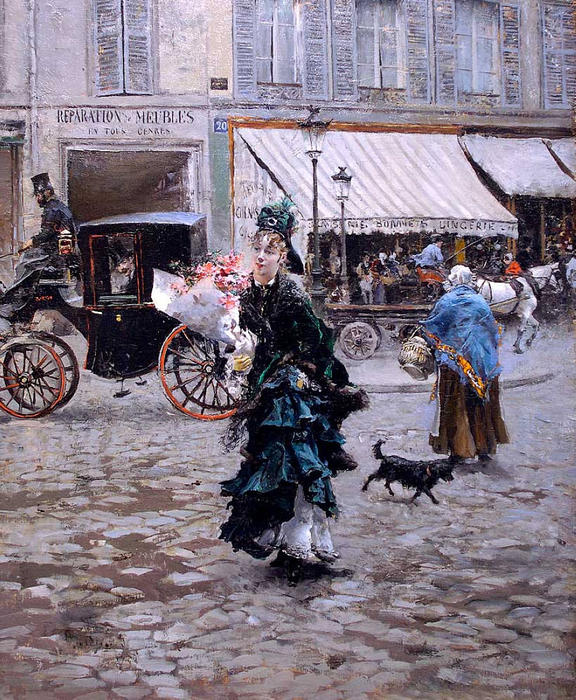 famous painting Crossing the Street of Giovanni Boldini