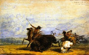 Alfred Jacob Miller - Crow Indians Attacking a Buffalo with the Lance near the Sweet Water River