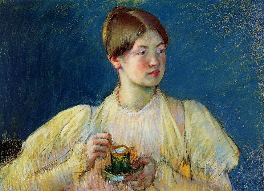 famous painting The Cup of Tea of Mary Stevenson Cassatt
